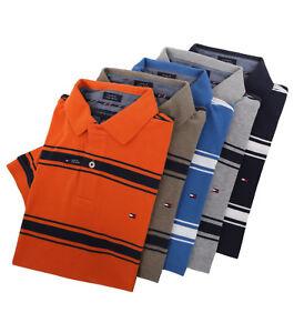 Tommy-Hilfiger-Men-039-s-Short-Sleeve-Custom-Fit-Striped-Polo-Shirt-0-Free-Ship