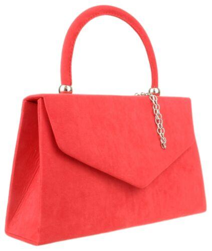 New Faux Suede Top Handle Clutch Bag Womens Handbag Evening Wedding Fashion Prom