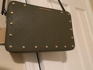 Michael-Kors-Sandrine-Stud-MK-EW-Crossbody-Leather-Bag-Purse-Olive-NWT-178