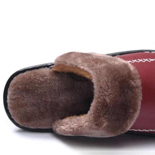 Winter Men Leather Warm Cotton Slippers Plush Shoes Non-slip Home Indoor Slipper