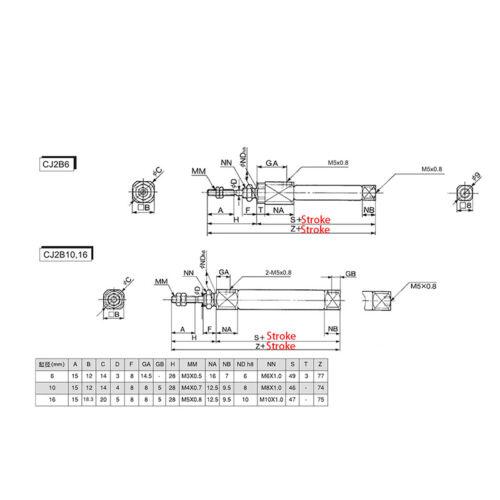 Mini Air Cylinder CDJ2B 10*100-B 10mm Bore 100mm Stroke Pneumatic Cylinder