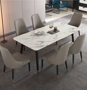 Marble Top Dining Table With 4 Black Ash Wood Legs Ebay