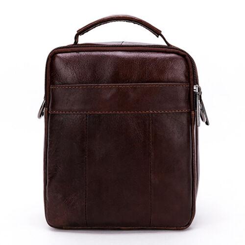 Men Genuine Leather Small Messenger Bag Shoulder Satchel Male Tote Handbag Purse