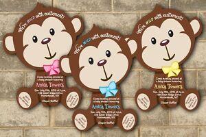 jungle monkey safari baby shower invitations boy girl, invitation samples