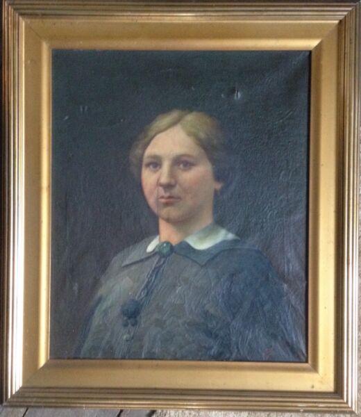 Carl Kornmeier 1892 Retrato Uno Jovenes Mujer Pintura Al Óleo 1918 Firme En La Estructura