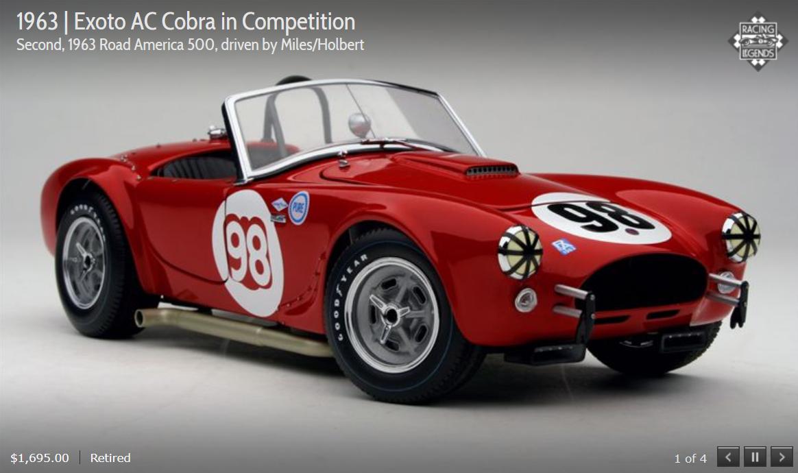 EXOTO 63 AC Cobra Compet. 2nd Road America 500 Miles Holbert 1 18 Neuf dans sa boîte  RLG19132