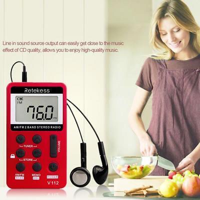 Retekes Mini Portable AM//FM Stereo HiFi Radio Pocket 2 Band Digital Tuning A3J1