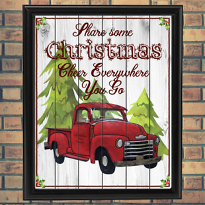 Prim Vintage Christmas Red Truck Giclee Poster Print GCL1022018