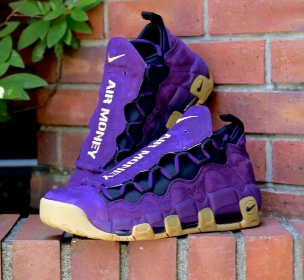 Nike Air More Money AR5401-500 ''NYC PACK LEOPART''Night Purple gold Size 9.5