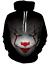 6XL Stephen King 3D Hoodies It 2017 Pennywise Horror Clown Black Fashion S