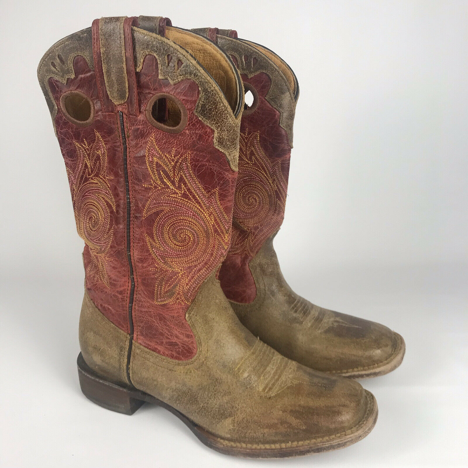 ROCKY Cowboy Boots - Womens 7 - HandHewn Red/Brown Leather Square Toe #5231