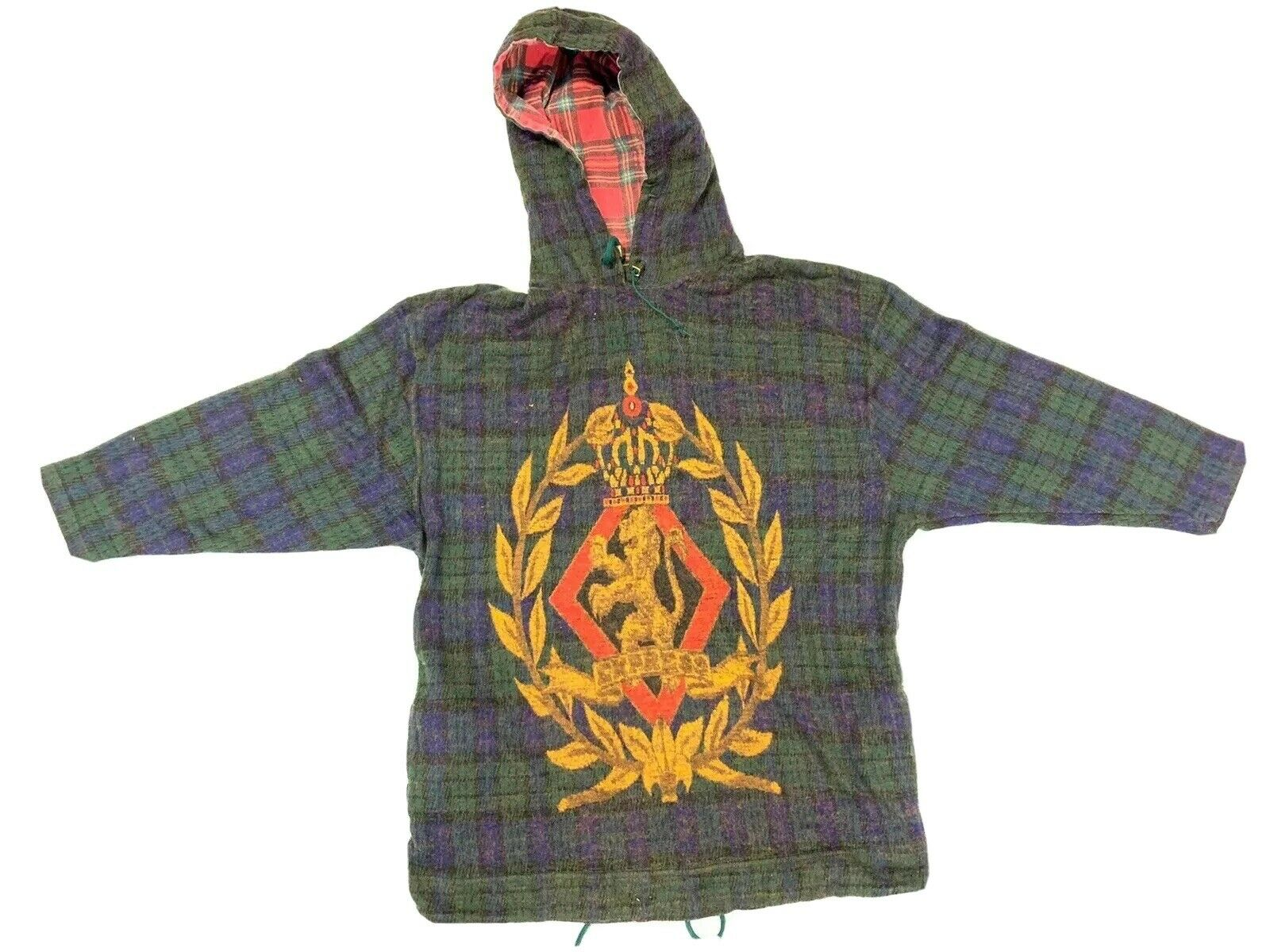Vintage Express French Country M Blue Green Plaid Lion Crest Pullover hoodie