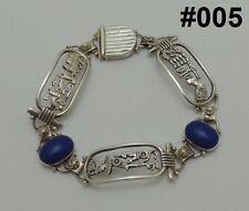 Hall marked Egyptian Pharaoh Silver Bracelet, Cartouche with Lapis