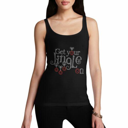 Twisted Envy Women/'s Get Your Jingle On Rhinestone Christmas Slogan Tank Top