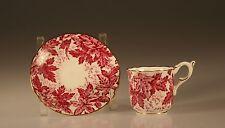 Coalport Ivy Leaf Demitasse  Cup and Saucer Vintage Red, Made In England c. 1949
