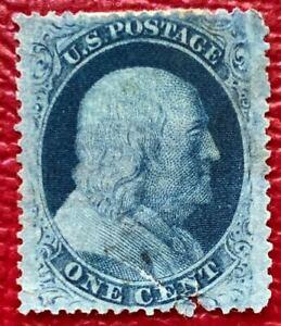 US-Stamp-SC-24-1c-Blue-Franklin-Mint-Hinged