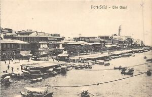 POSTCARD-EGYPT-PORT-SAID-The-Quai