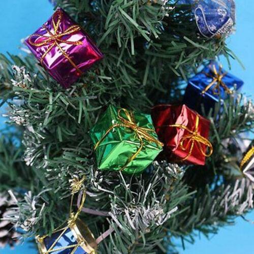 12PCS Lot Mini Christmas Ornaments Foam Gift Box Xmas Tree Hanging Party Decor