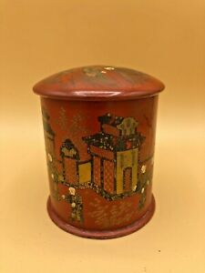 ANTIQUE-HAND-PAINTED-ASIAN-CHINESE-TIN-TEA-CADDY-BOX-W-DOUBLE-LID