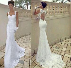 Uk sexy whiteivory lace mermaid backless wedding dress bridal gown image is loading uk sexy white ivory lace mermaid backless wedding junglespirit Images