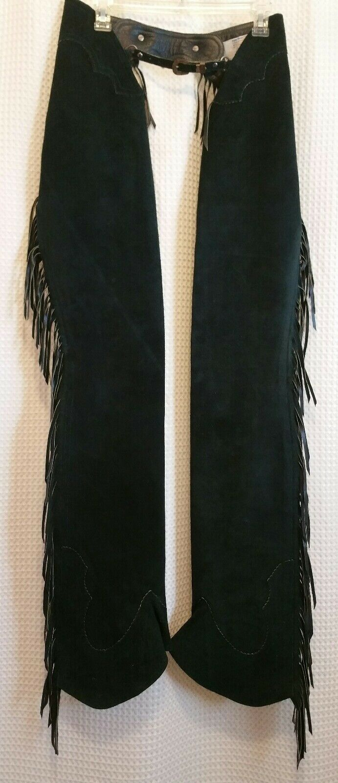 HOBBY HORSE Clothing Co. verde Pelle Suede Adult Chaps w/ Fringe