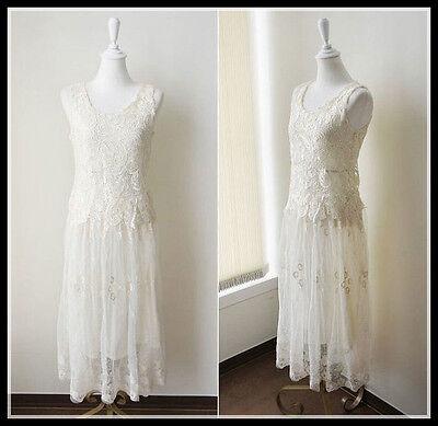 BLOGGER FAV VTG BOHO FLORAL CROCHET LACE FESTIVAL BRIDESMAID BEACH WEDDING DRESS