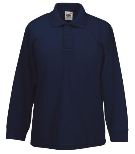 Plain Polyester Cotton Long Sleeve Childs Kids School Polo Shirt No Logo