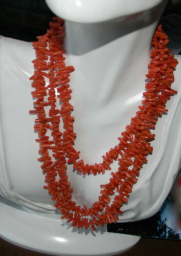 "Edwardian Vintage 50"" long Flapper Red Salmon Coral Branches Flapper Necklace"