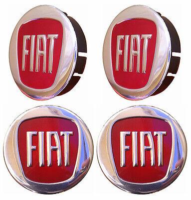 FIAT 4pcs Wheel Centre Caps 60/55mm Front/Rare Diam. Alloys Hub Rim Covers