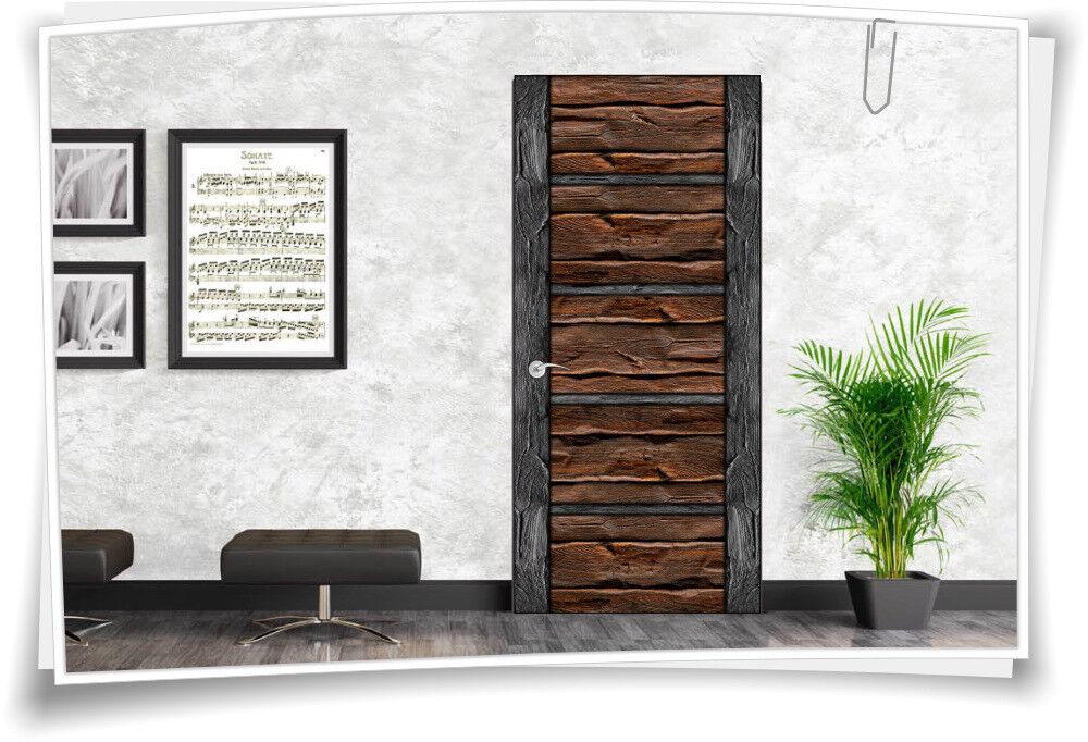 Türaufkleber Möbelfolie Folie Türtapete Türbild Türposter Holztür Rustikal Holz