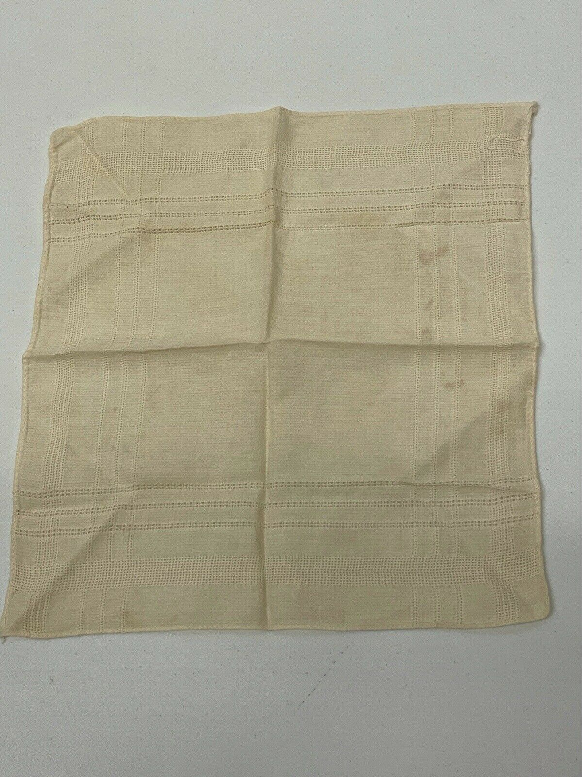 Vintage Off-White Colored Handkerchief A0660