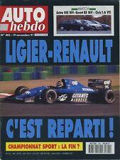 AUTO HEBDO n°805 19/11/1991 FORD ESCORT RS2000 HONDA CIVIC VTEC OPEL ASTRA GSI