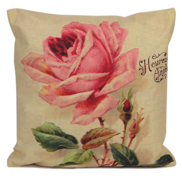 Vintage Pink Rose Throw Pillow Case Home Decor Cushion Pillow Cover Case