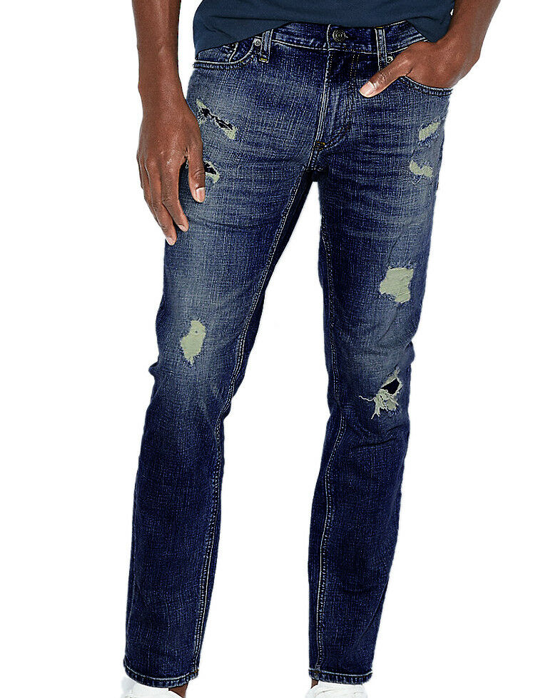 Express Mens Destroyed bluee Rocco Slim Fit Skinny Leg Jeans 38W x 32L 5926-5