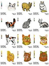 Cats, 24 embroidery machine designs on CD, Multi Formats available