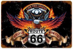 PLAQUE-DECORATIVE-ROUTE-66-LIVE-THE-LEGEND-30-X-20-CM-DECO-VINTAGE-BIKER-USA
