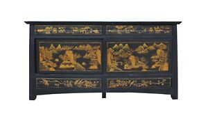 Chinese-Golden-Graphic-Sideboard-High-Credenza-Console-Table-TV-Cabinet-cs3509