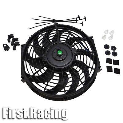 "12"" inch Universal Slim Fan Push Pull Electric Radiator Cooling 12V Mount Kit"