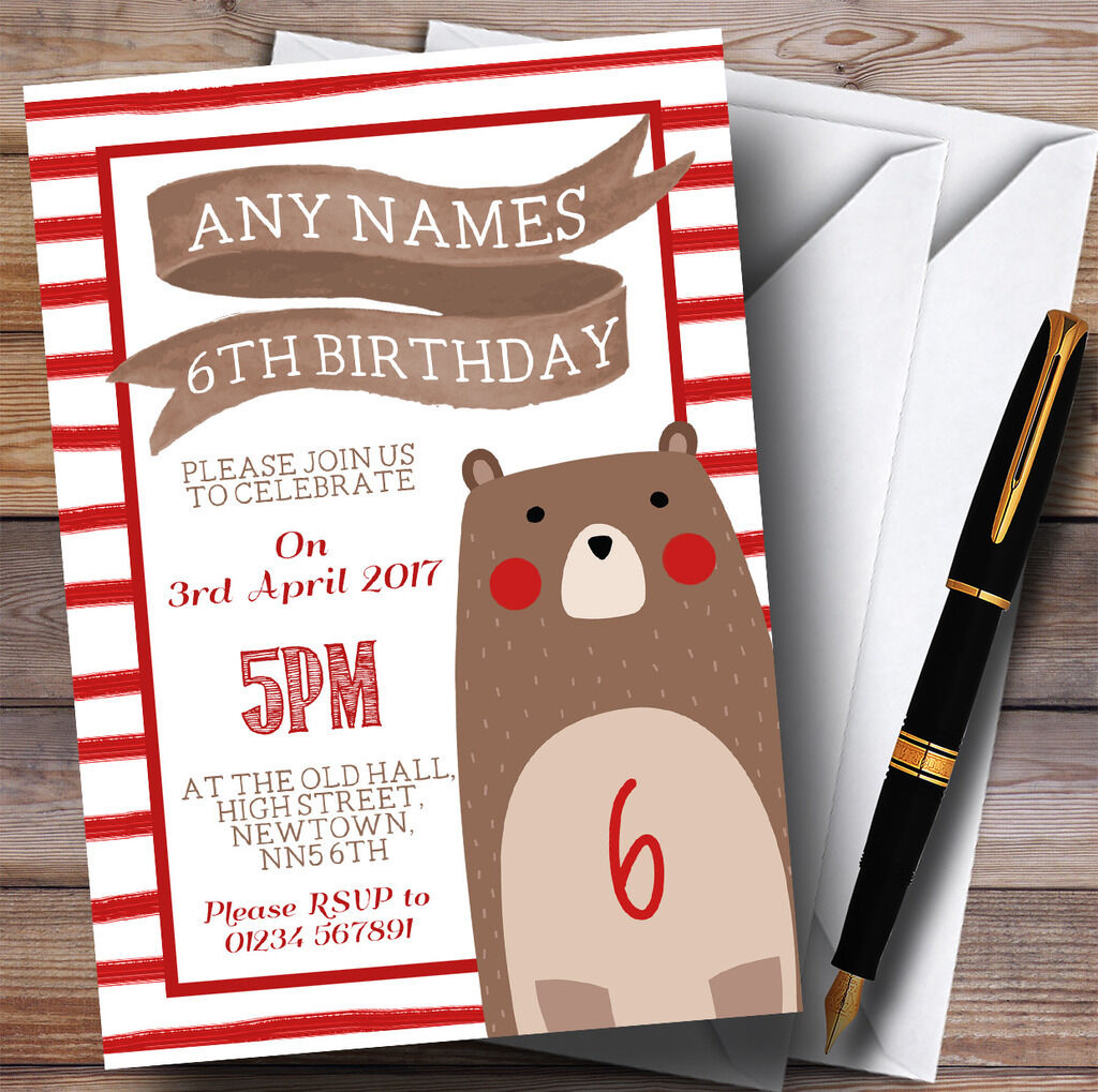 ROT Stripes Teddy Invitations Bear Childrens Birthday Party 4ac68b