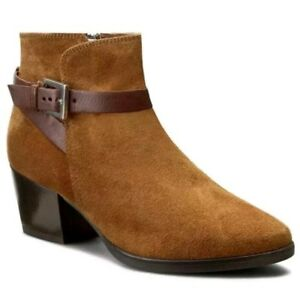 a1acdceb Details about New Clarks Ladies Christabel Eva Tan Suede Cowboy Ankle Boots  Size 7.5D