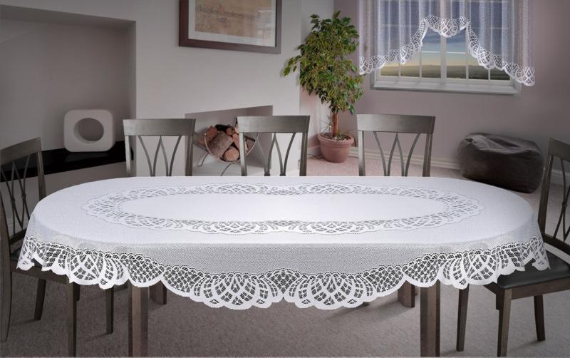 Attractive White Lace Tablecloth Oval