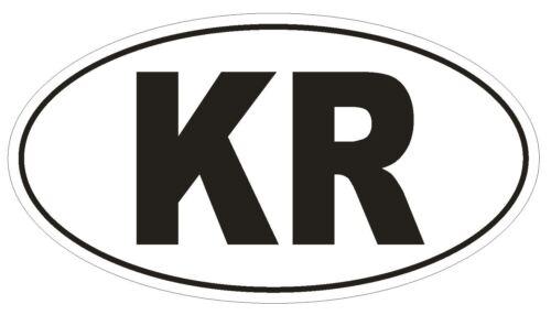 KR Corée du Sud code Pays Ovale Autocollant ou Casque Autocollant D1039