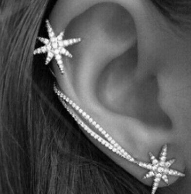 Silver Plated Ear Stud Earrings Sweep Wrap Leaf Ear Climber Rings slv ECF02