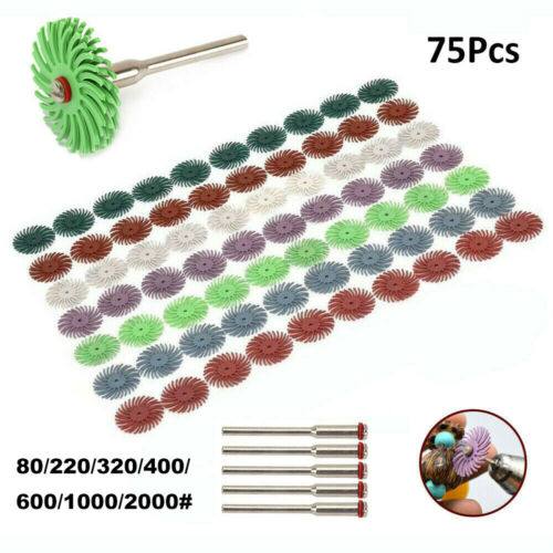 """70Pcs 1 Inch Radial Bristle Abrasive Nylon Brush With 1//8/"""" Shank For Woodworking"""