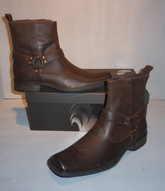 Gallo Para Hombre Rowley marrón Western Motocicleta Estilo botas Tamaños  Nuevo En Caja tirar de