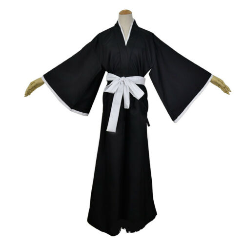 Unisex Adults Anime Bleach Kurosaki Ichigo Robe Cloak Kimono Halloween Costume