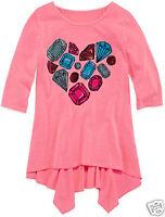Total Girl 3/4 Sleeve Shark Bite Tunic Girls Size L, Xl, Xxl Neon Flamingo