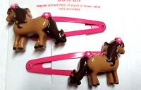 Gymboree Equestrian Club Line Horse Hair Clips Barrettes Brown Pink Cute Girl