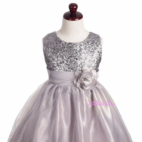 Sequined Wedding Flower Girl Pageant Dress Formal Graduation Gown Size 4-14 #375