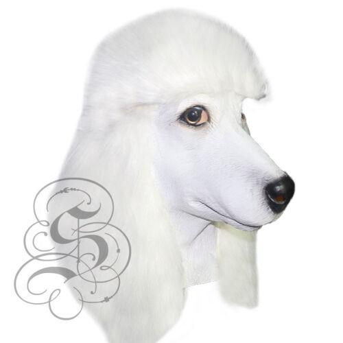 Latex Ganzer Kopf Tier Weißer Pudel Hund Hochwertig Kostüm Karneval Maske